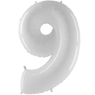 """White 40"""" Number 9 Balloon Helium Filled"""