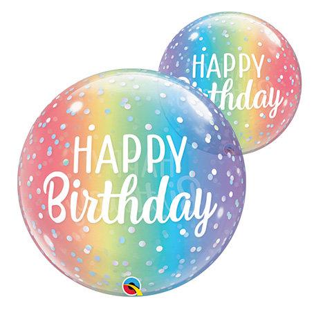 Birthday Ombre & Dots Bubble Balloon