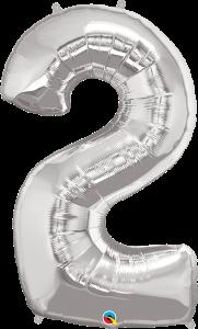 "Silver 34"" Foil Number 2 Helium Filled"