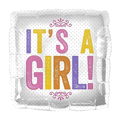 "It's A Girl 18"" Square Foil Balloon"