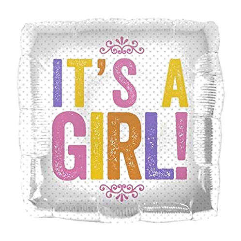 """It's A Girl 18"""" Square Foil Balloon"""