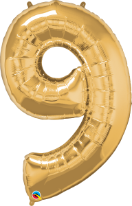 "Gold 34"" Foil Number 9 Balloon Helium Filled"