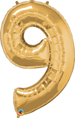 """Gold 34"""" Foil Number 9 Balloon Helium Filled"""