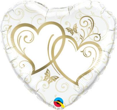 """Gold Entwined Hearts 18"""" Foil Balloon"""