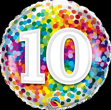 "10 Rainbow Confetti 18"" Foil Balloon"