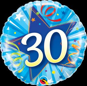 "30 Shining Star Bright Blue 18"" Foil Balloon"