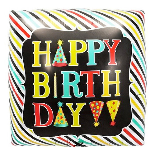 Happy Birthday Stripes Balloon
