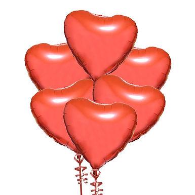 Half a Dozen Red Foil Heart Balloons