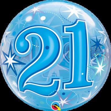 21 Blue Starburst Sparkle Bubble