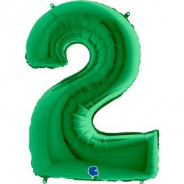 """Green 40"""" Foil Number 2 Balloon Helium Filled"""