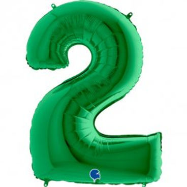 "Green 40"" Foil Number 2 Balloon Helium Filled"