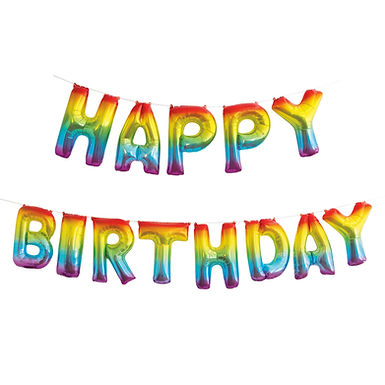 Rainbow Happy Birthday Balloon Banner Kit