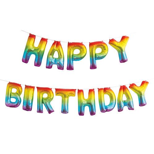 Rainbow Happy Birthday Balloon Banner Kit