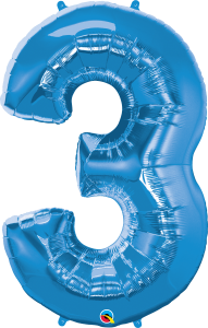 """Blue 34"""" Foil Number 3 Balloon Helium Filled"""