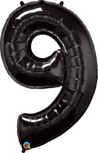 "Black 34"" Foil Number 9 Balloon Helium Filled"