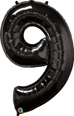 """Black 34"""" Foil Number 9 Balloon Helium Filled"""