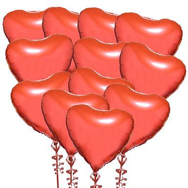 Dozen Red Foil Heart Balloons