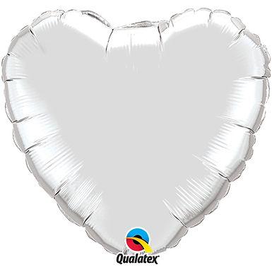 Silver 18 inch Heart Foil Balloon