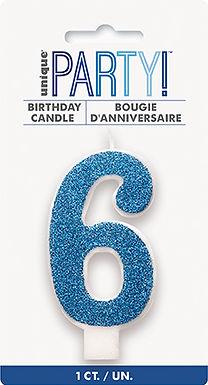Glitz Blue Glitter Number 6 Candle