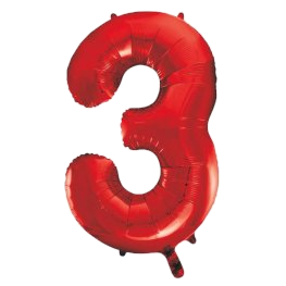 """Red 34"""" Foil Number 3 Balloon Helium Filled"""