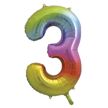 "Rainbow 34"" Foil Number 3 Balloon Helium Filled"