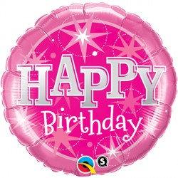 "Birthday Sparkle Pink 18"" Foil Balloon Helium Filled"