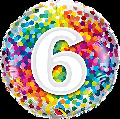 "6 Rainbow Confetti 18"" Foil Balloon"