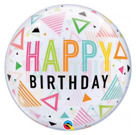 Happy Birthday Rainbow Triangles Bubble Balloon