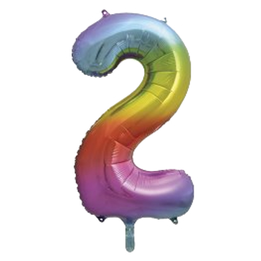 """Rainbow 34"""" Foil Number 2 Balloon Helium Filled"""