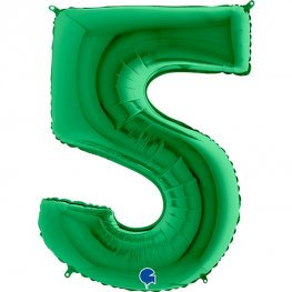"""Green 40"""" Foil Number 5 Balloon Helium Filled"""