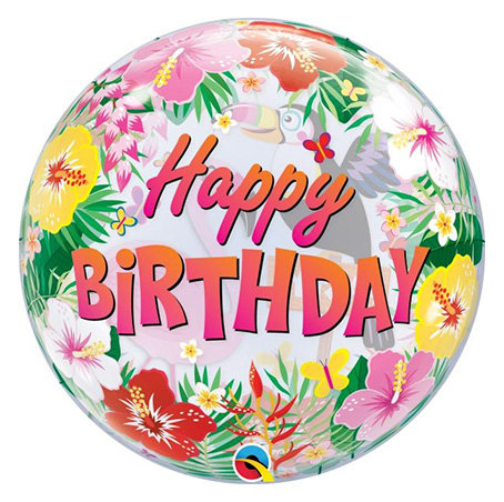Happy Birthday Hibiscus Bubble Balloon