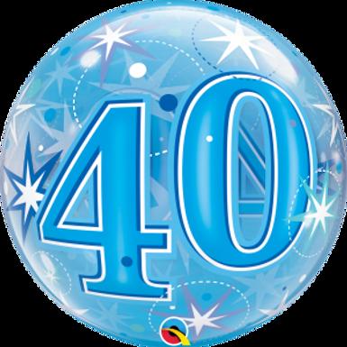 40 Blue Starburst Sparkle Bubble