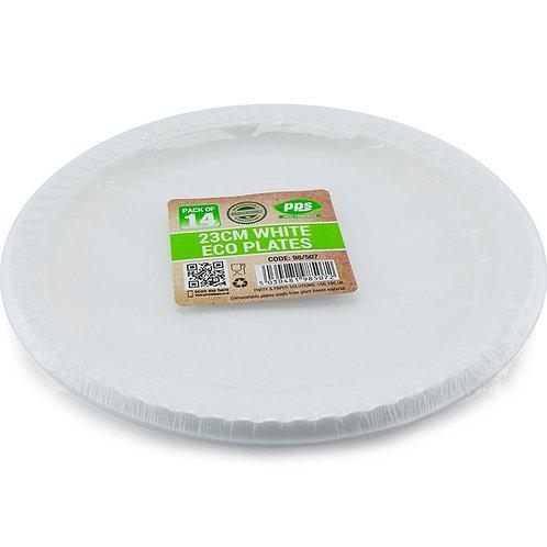 23cm White Bio Degradable Plates