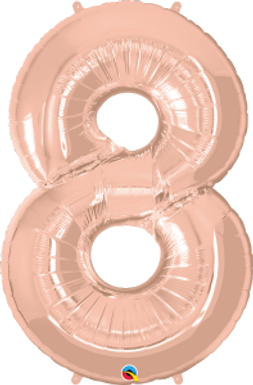 """Rose Gold 34"""" Foil Number 8 Balloon Helium Filled"""