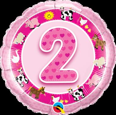 "Age 2 Pink Farm Animals 18"" Foil Balloon"