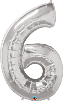 "Silver 34"" Foil Number 6 Helium Filled"