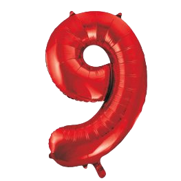 """Red 34"""" Foil Number 9 Balloon Helium Filled"""