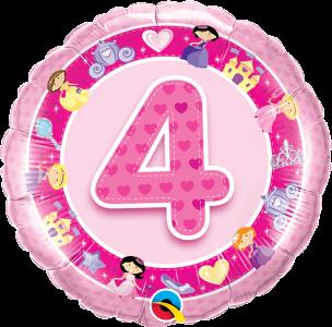 """Age 4 Pink Princess' 18"""" Foil Balloon"""