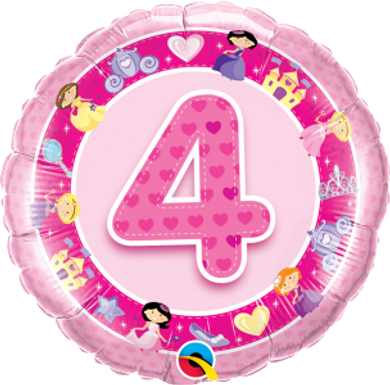 "Age 4 Pink Princess' 18"" Foil Balloon"