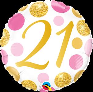 "21 Pink & Gold Dots 18"" Foil Balloon"