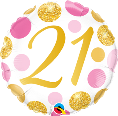 "21 Pink & Gold Dots 18"" Foil Balloon"
