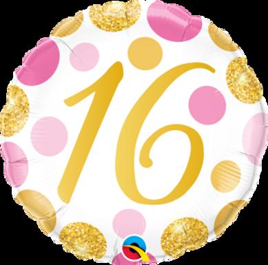 "16 Pink & Gold Dots 18"" Foil Balloon"