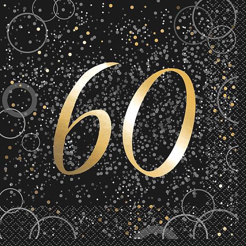 Black & Gold Age 60 Napkins