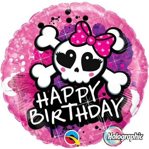 Happy Birthday cute skull foil balloon