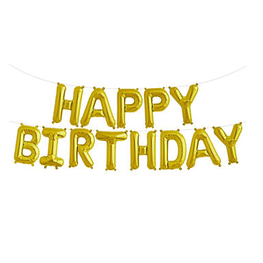 Gold Happy Birthday Balloon Banner Kit
