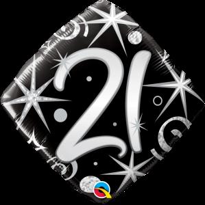"21 Elegant Sparkles & Swirls 18"" Foil Balloon"