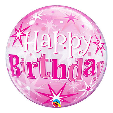 Birthday Pink Starburst Sparkle Bubble Balloon
