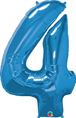"""Blue 34"""" Foil Number 4 Balloon Helium Filled"""