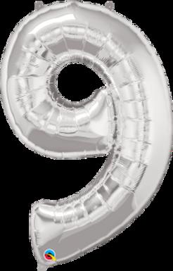 "Silver 34"" Foil Number 9 Helium Filled"