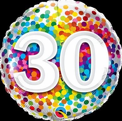 "30 Rainbow Confetti 18"" Foil Balloon"